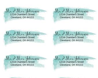 "Personalized Watercolor Stroke Return Address Labels- 1"" x 2.625"""