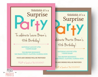 Surprise Birthday Invitation (Printable) Surprise Birthday Party Invitations - Surprise Party Invitation for Women or Men - Woman Birthday