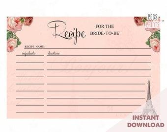 Paris Recipe Card - Digital Download - Printable Recipe Cards - Recipe Card Printable - Instant Download - Bridal Shower Recipe Cards