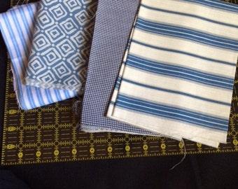 Four blue & white cotton fabric remnants - #1