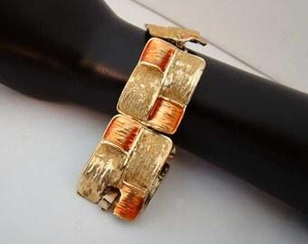 Vintage orange bracelet, modernist link bracelet, square link bracelet, orange vintage bracelet, link bracelet, orange bracelet