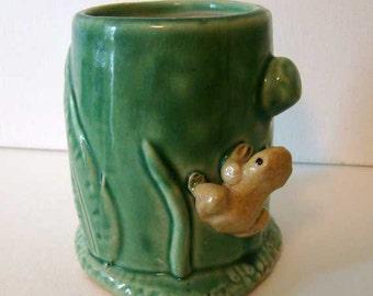 Frog planter, ceramic frog planter, green pottery, frog home decor, ceramic planter