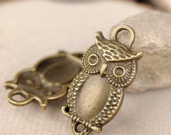 DIY 25 pcs antique bronze owl charm pendant 27x13mm