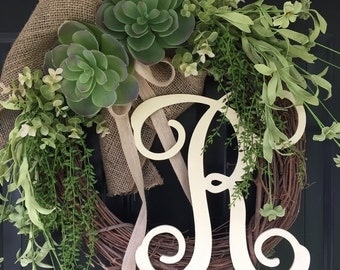 Wreath-Summer Wreath -Succulent Wreath- Wreaths- Succulent Burlap Monogrammed Wreath - Summer Decor -Housewarming Gift- Gift Ideas