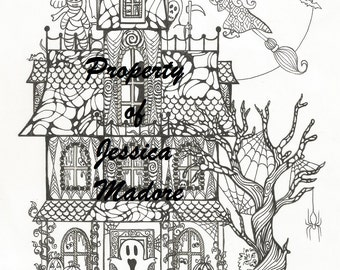 Haunted House Halloween Coloring Page & FREE Bonus page!!
