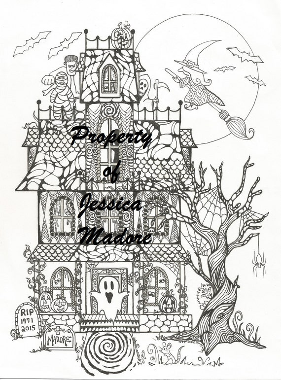 Haunted House Halloween Coloring
