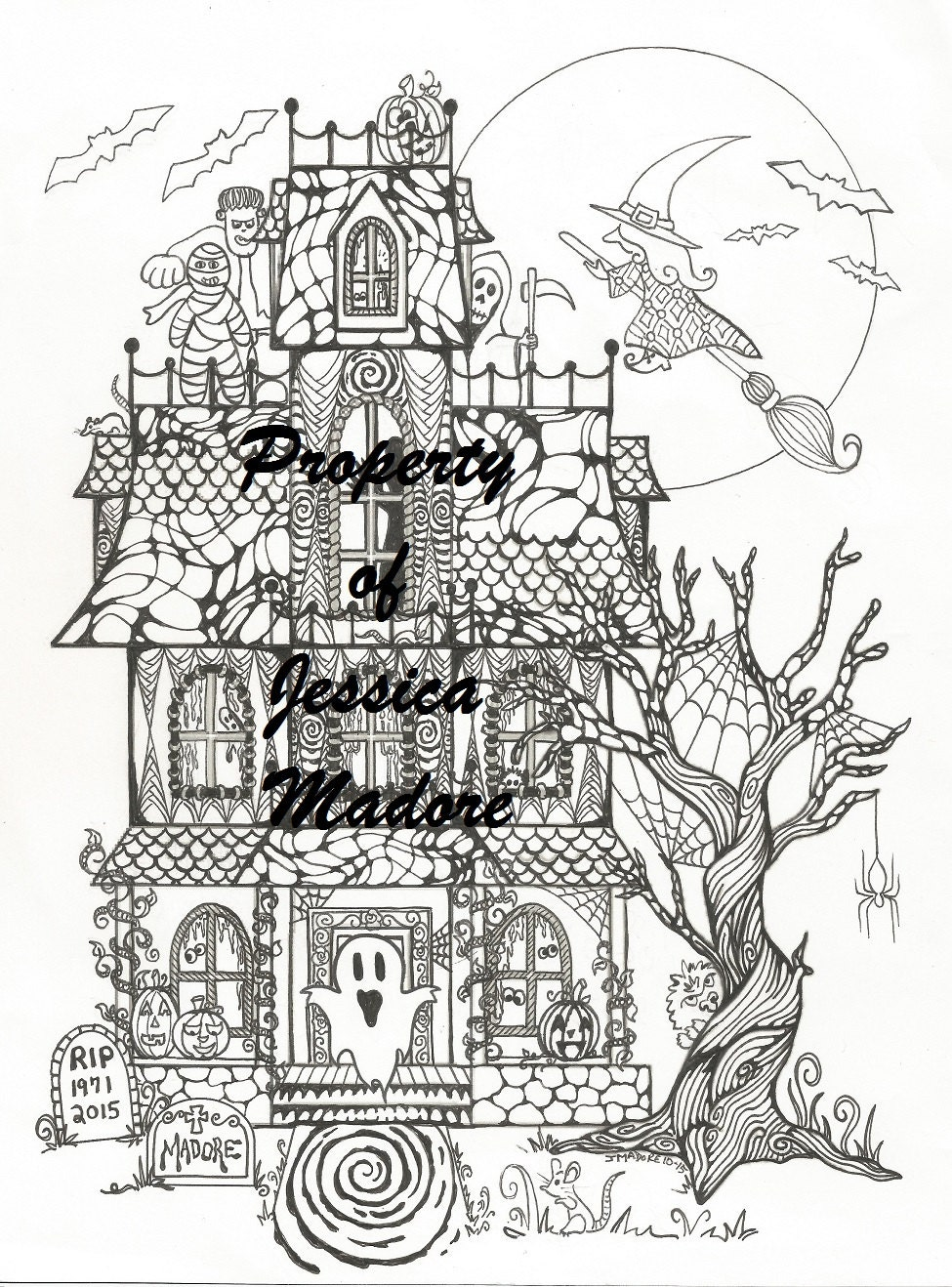 Haunted House Halloween Coloring Page & FREE Bonus page