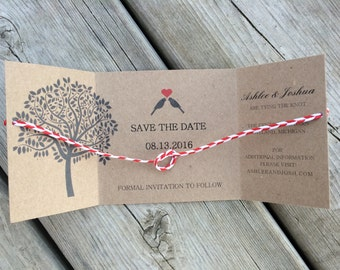 DIY Tying the Knot Save the Date, set of 100, Rustic Save the Date, Lovebirds Tree Save the Date, Unique Save the Date