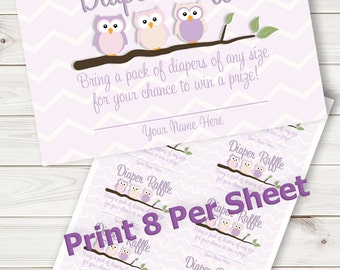 Baby Shower Game Raffle Cards Purple Owl~Printable~INSTANT DOWNLOAD