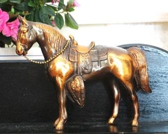 bronze carnival prize horse vintage cast metal horse western style horse