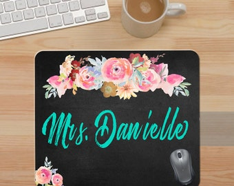 """Custom Mouse Pad. """"Chalkboard"""" and Floral Mouse Pad. Pesonalized Mouse Pad. Custom Teacher Gift. Office Gift. Watercolor Floral Mouse Pad."""