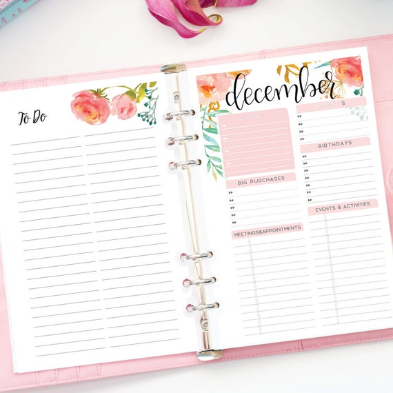 Monthly Planner 2017 Printable Half Sheet The Purposeful