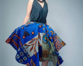 Maxi skirt Blue print African long midi Skirt African Clothing African Print Skirt Maxi Skirt African Fashion Ankara Clothing Ankara Print