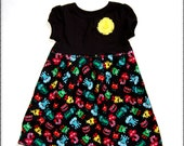 Monster dress**Toddler girls dress with monsters**Yellow, blue, green, red, black**Flower pin**Fall winter spring dress**Fast shipping