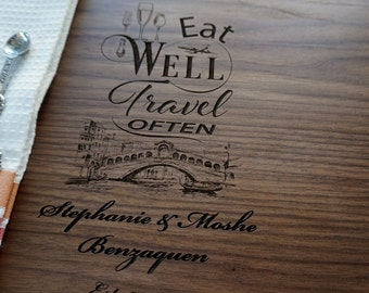 Eat Well Travel Often Custom Cutting Board Hostess Gift Personalized Housewarming Present Italian Kitchen Decor Chopping Board wedding gift