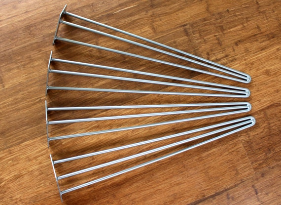Set of Four 28″ 3-Rod Hairpin Table or Desk Legs | Silver