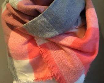 Plaid gray pink and white blanket scarf