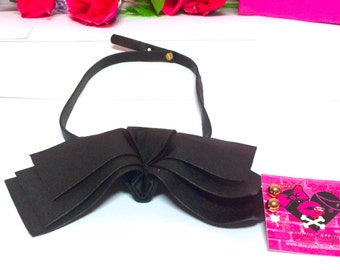 BLACK PLEATHER BOW Choker w/ Studs