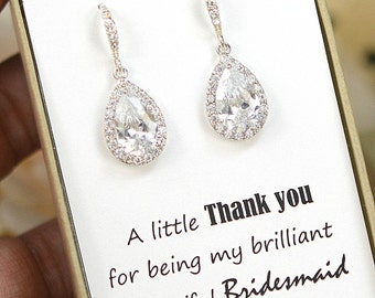Wedding Jewelry Bridesmaid Gift Bridesmaid Jewelry Bridal Jewelry  tear Drop Earrings Cubic Zirconia dangle Earrings ,bridesmaid gift