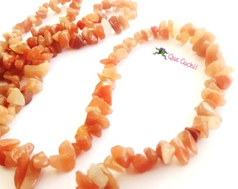 Long necklace of chips in Amber Aventurine