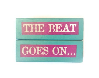 The Beat Goes On | Fridge Magnets | BLUE | Home Decor | Office Magnets | Recycled Gift |  For Her | For Him |