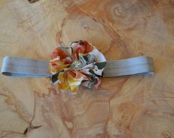 Pink and Gray Flower Baby Headband