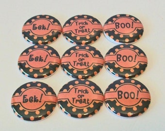 Halloween Black and Orange Polka Dot Set of 9 1 Inch Flat Back Embellishments Buttons Flair Great for Bow Making
