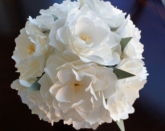 Paper Bridal or Bridesmaid Bouquet - White Peonies - Spring Summer Wedding Bouquet - 8 inch - 10 inch - 12 inch