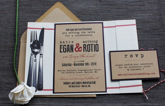 Food Themed Wedding Invitation Setting The Table Dinner