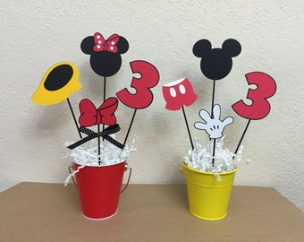 Mickey Mouse and Minnie Mouse Birthday Centerpieces - Boy Girl party - or Baby Shower