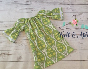 Green peasant dress with lace trim