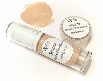 SESAME Liquid ORGANIC Foundation - Natural Makeup Vegan Gluten Free - Serum Liquid Mineral Makeup