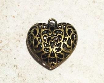 1 pc, Heart Pendant, Filigree Pendant, Tibetan Style, Antique Bronze