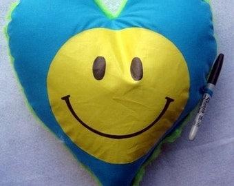 happy face autograph pillow