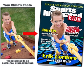 American Ninja Warrior Birthday American Ninja Warrior Invitations American Ninja Warrior Party Sports Illustrated Invite Sports Birthday