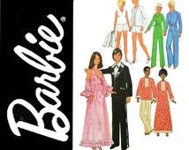 1970s Vintage Barbie Patterns / Doll Clothes Pattern / Simplicity 7737 Ken & Barbie Clothes Pattern / Fashion Barbie Doll Clothes Patterns