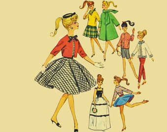 60s Vintage Barbie Doll Clothes Pattern Simplicity 4700 Barbie Patterns / 1960s Barbie Doll Clothes Pattern 60s Vintage Sewing Patterns