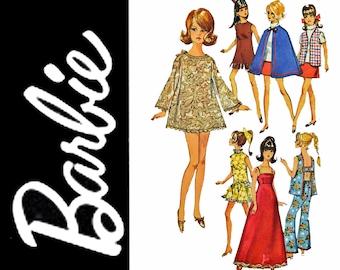 Vintage Barbie Patterns / Simplicity 8466 Barbie Clothes Pattern / 1969 Fashion Doll Clothes Patterns / 60s Vintage Sewing Patterns