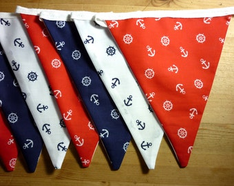 3.5m, Red, White & Blue, Anchor, Nautical Bunting