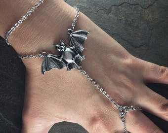 Silver-tone Vampire BAT Desmodus Rotundus Slave Bracelet
