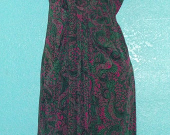 40s50s Vintage Emerald Green and Hot Pink Silk Day Dress — Size Small or 4-6