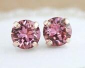 Pink crystal earrings,pink earrings,pink wedding,plum pink,bridesmaid earrings,flower girl earrings,wedding jewelry,Swarovski antique pink