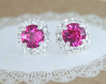 Bridesmaid earrings,swarovski earrings,fuchsia earrings,hot pink earrings,fuchsia wedding,swarovski fuchsia,silver and pink wedding,bridal