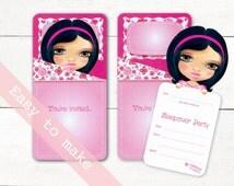 slumber party invitation hand drawn digital download, Sleepover Invite, Printable 3D, Pjama Party, Girls Vintage Style, dark skin