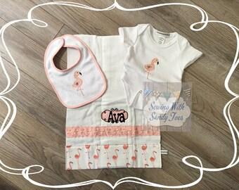Baby gift, Baby shower gifts, Personalized Baby Gift Set, Flamingo, Flamingle, Onesie, Baby Bib, Burp Cloth, Baby Layette, New baby Gift,