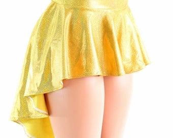 Gold Holographic Hi-Lo Mini Skirt Rave Festival Skirt 152435