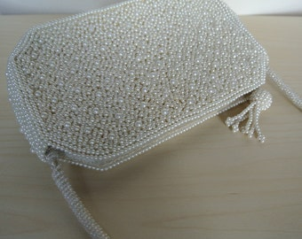 White Beaded Deco Clutch Party Evening Bag by Fellini Carlo