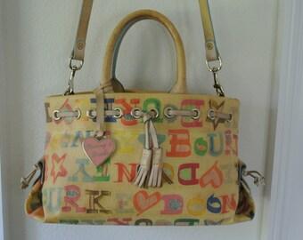 Dooney & Bourke Handbag Satchel Graffiti Print multi Color Cross Body Shoulder Bag Coated Canvas