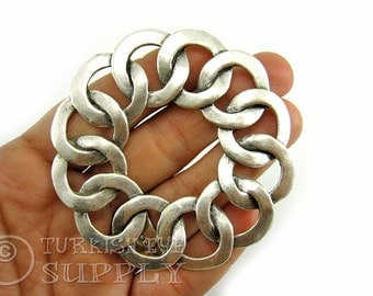 Large Round Interlock Hoops Connector Focal Pendant, Antique Silver Plated Turkish Jewelry Supplies