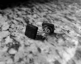 Handmade Black Square Stud Earrings Fossil Bog Oak Silver 925 Eco Friendly Made in Italy Minimalist line